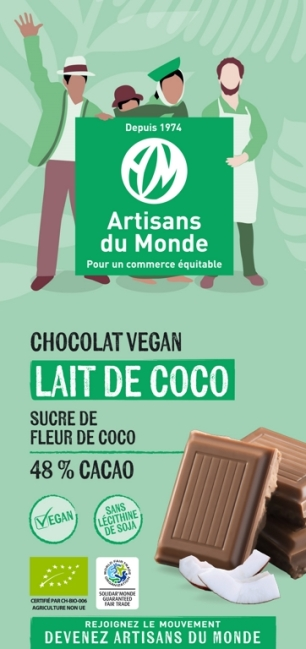 Chocolat vegan noir lait de coco